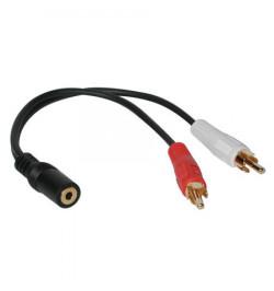 C2G Value Series Y-Cable - Adaptador de áudio - 26 AWG - minifone estéreo 3,5 mm (F) - RCA (M) - blindado - preto