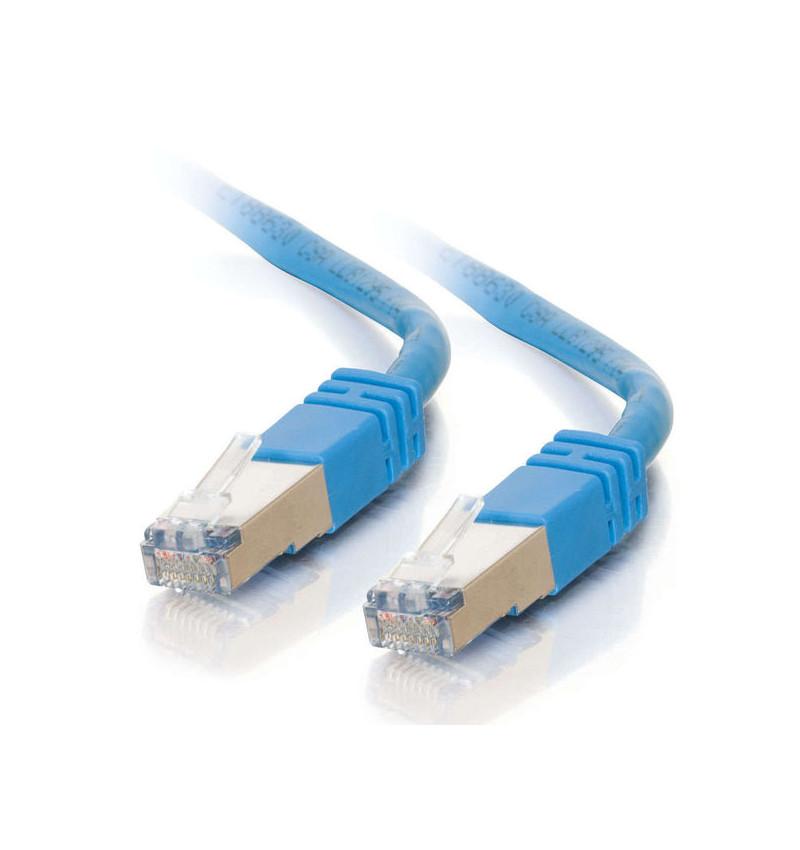 C2G Cat5e Booted Shielded (STP) Network Patch Cable - Cabo patch - RJ-45 (M) - RJ-45 (M) - 100 m - PTB - CAT 5e - moldado - azul