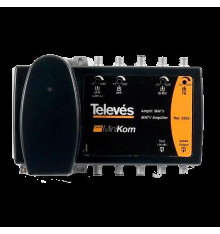 CENTRAL AMP. MINIKOM 4 ENTRADAS FM-BI/BIII-UHF-UHF Televés