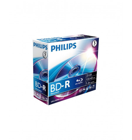 Pack Philips 5 Unidades Blu-Ray Recordable 25GB 6x Jewel Case - DM4I6B25F