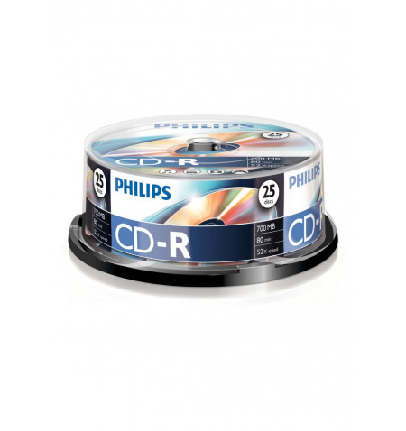 Pack Philips 25 Unidades CD-R 80Min 700MB 52x Cakebox - CR7D5NB25