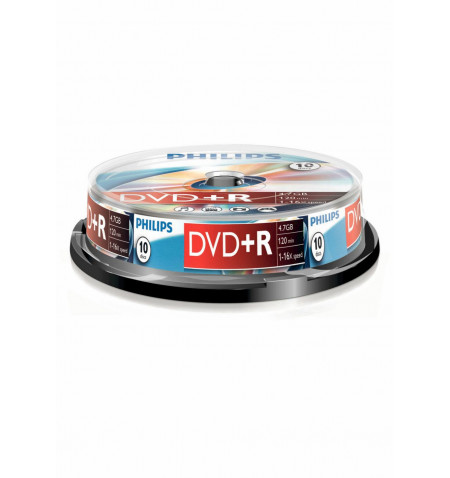 Pack Philips 10 Unidades DVD+R 4,7GB 16x Cakebox - DR4S6B10F