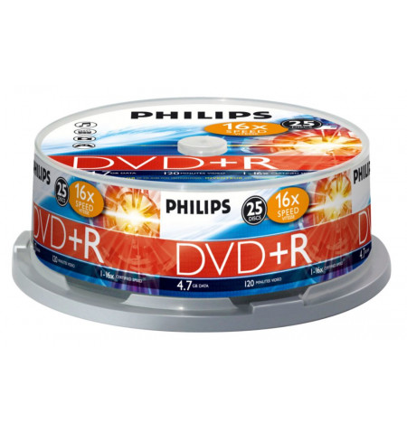 Pack Philips 25 Unidades DVD+R 4,7GB 16x Cakebox - DR4S6B25F