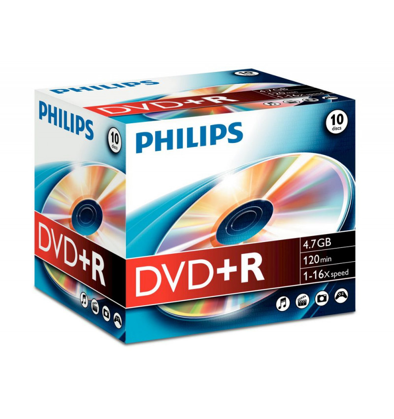 Philips DVD+R 4,7GB 16x Jewel Case (10 unidades)