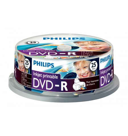 Pack Philips 25 Unidades DVD-R 4,7GB 16x Printable mate Cakebox - DM4I6B25F