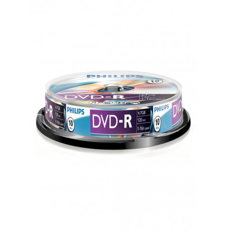 Pack Philips 10 Unidades DVD-R 4,7GB 16x Cakebox - DM4S6B10F