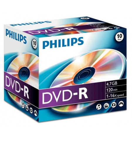 Pack Philips DVD-R 4,7GB 16X Jewel Case - DM4S6J10C
