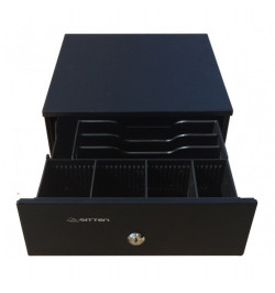 Sitten HS-240B - Mini gaveta horizontal metálica 24,5x32x10,5cm, RJ11, preta, 3N/4M, c/ chave