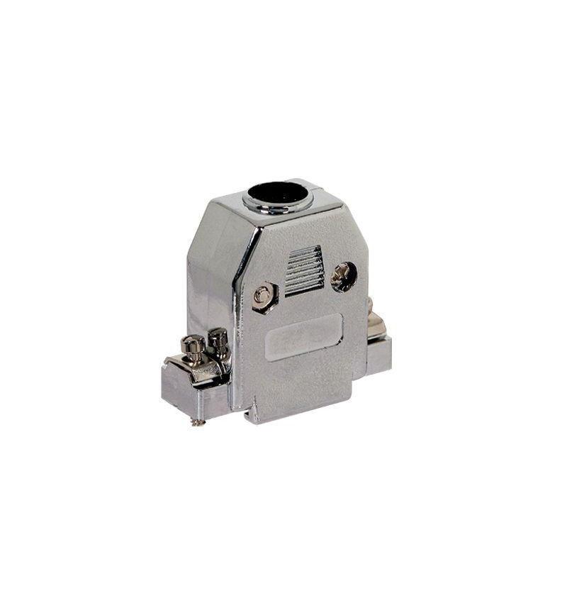 Carcaça para D–Sub com parafusos curtos metalizado.
