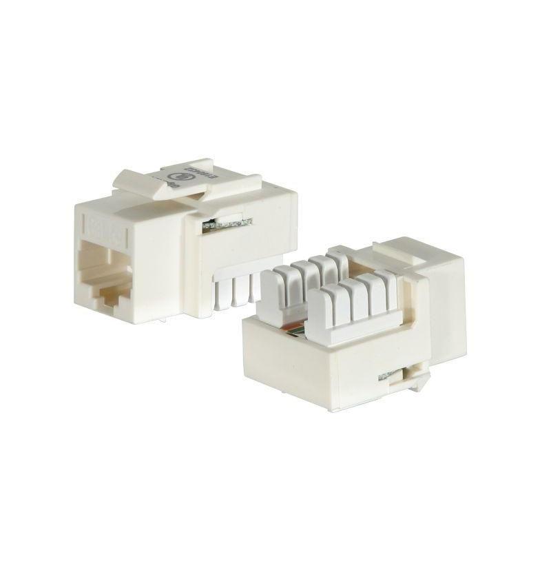 Conector UTP B110 RJ 45 Cat 5E dual F branco