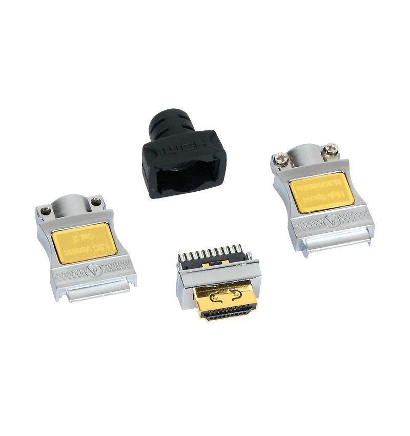 Conector HDMI macho AWG 28/26 HQ dourado para soldar
