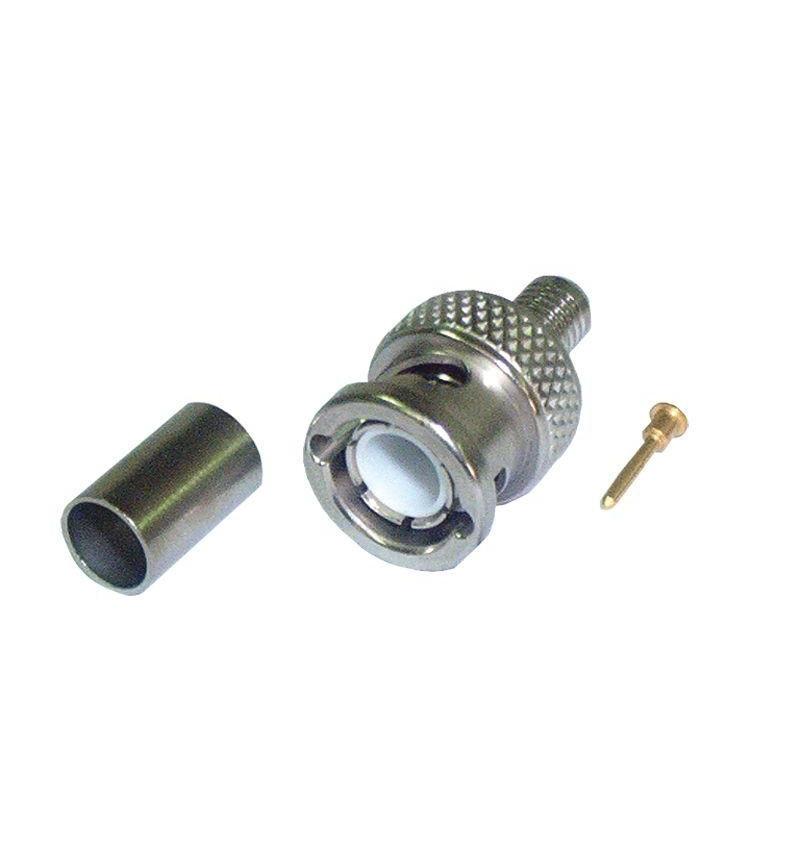 Conector RG 59/62 BNC M para crimpar.
