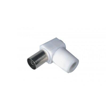 Conector coaxial jack branco angulado