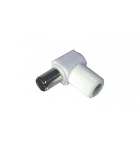 Conector coaxial plug branco angulado