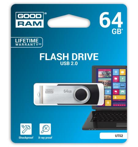 Pen Drive Goodram 64GB TWISTER BLACK USB 2.0 - UTS2-0640K0R11