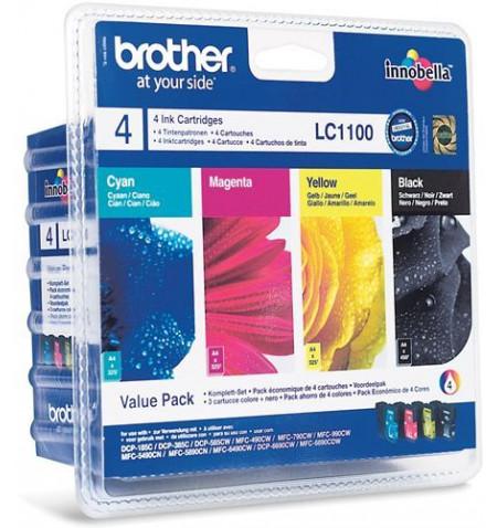 Pack de Tinteiros Originais Brother Preto,Ciano,Magenta,Amarelo (LC1100VALBP)