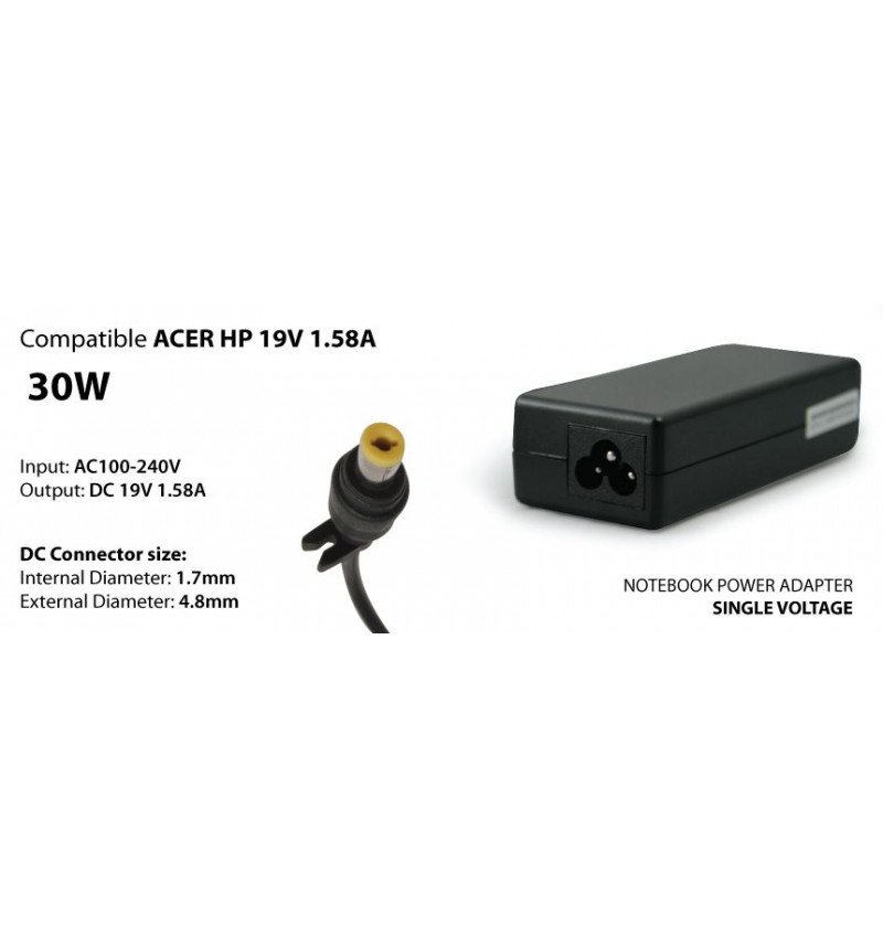 Transfromador 30W compativel Acer HP 19V 1.58A, plug 1.7/4.8 mm