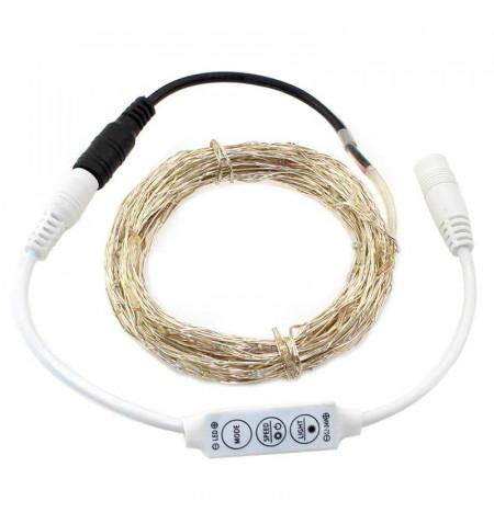 Guirnalda Led - Kit Tira 100 microled, 10m, Blanco frío