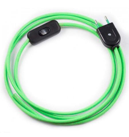 Cable textil con interruptor y enchufe, 2x0,75mm, 2m, verde