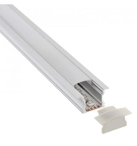 KIT - Perfil aluminio RIDA para tiras LED, 2 metros