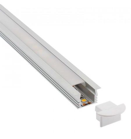 KIT - Perfil aluminio CAMPRO para tiras LED, 1 metro