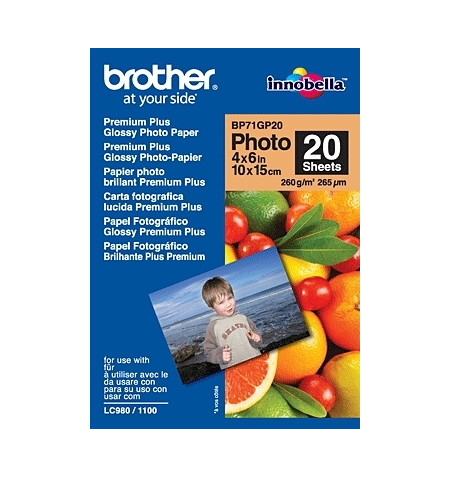 "Papel BROTHER ""Glossy"" 10x15. 20 folhas"
