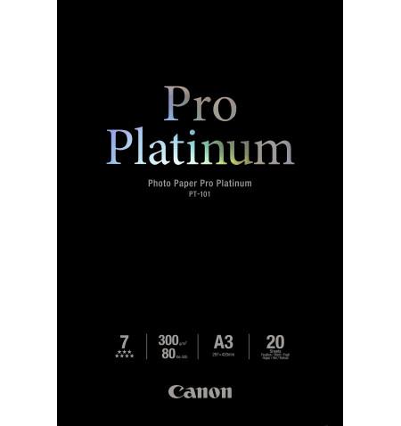 Papel Foto CANON Pro Platinum PT-101 A3, 20 Folhas