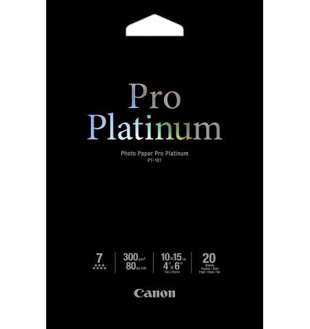 Papel Foto CANON Pro Platinum PT-101 (4x6), 20 Folhas