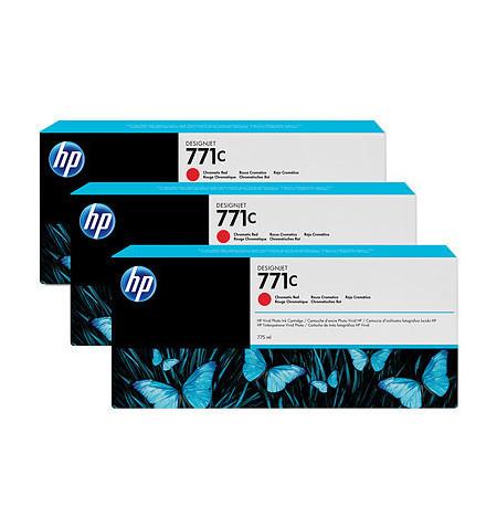 Pack 3 Tinteiros Originais HP 771C Vermelho (B6Y32A)