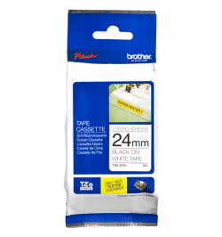 Fita Brother Laminada 24mm Branco/Preto (TZES251)