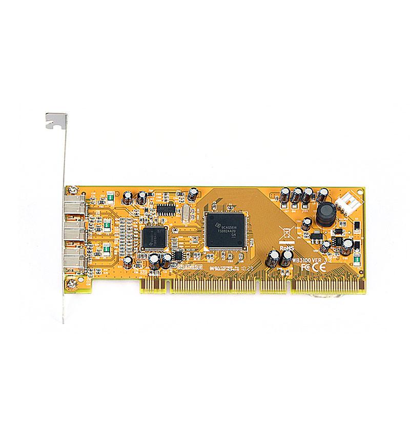 Placa PCI–X 64 bit 3.3/5V FireWire 1394B 3 portas