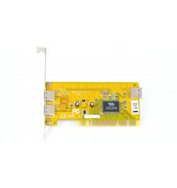 Placa PCI USB 2.0 com 2 portas externas e 1 interna