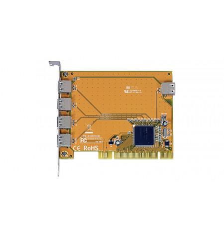 Placa PCI controladora USB 2.0 de 4 portas externas + 1 interna