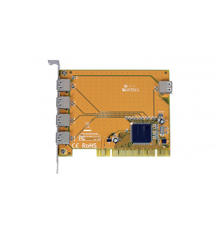 Placa PCI controladora USB 2.0 de 4 portas externas + 1 interna - 1074NC