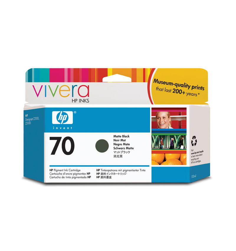 HP 70 130 ml Matte Black Ink Cartridge with Vivera Ink