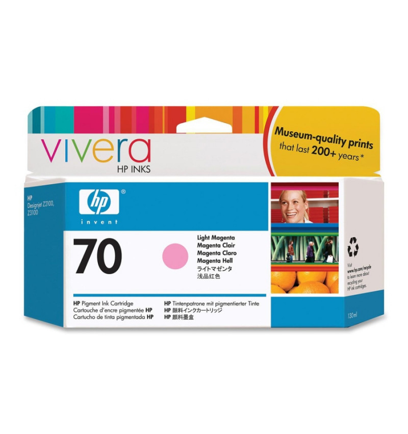 HP 70 130 ml Light Magenta Ink Cartridge with Vivera Ink