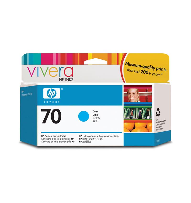 HP 70 130 ml Cyan Ink Cartridge with Vivera Ink